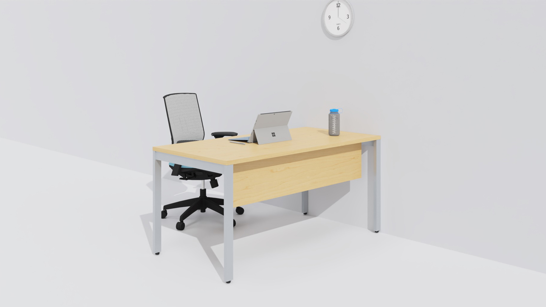 Desk by the wall with work tools on it and a chair
